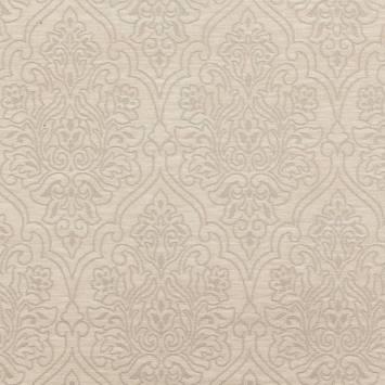 Jacquard velours ras motif arabesque grège