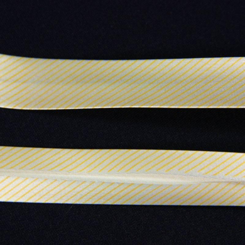 Biais replié satin blanc rayé jaune