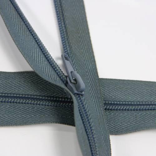 Fermeture à glissière au mètre bleue grise