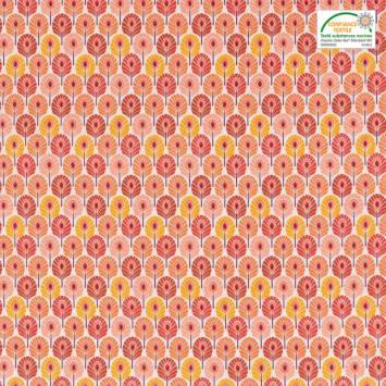 Coton enduit orange imprimé plume de paon