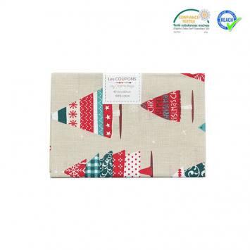 Coupon 40x60 cm coton Noël grège imprimé sapin helsy