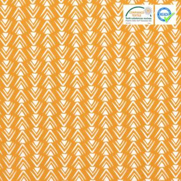 Coton ocre motif triangles et chevrons blancs
