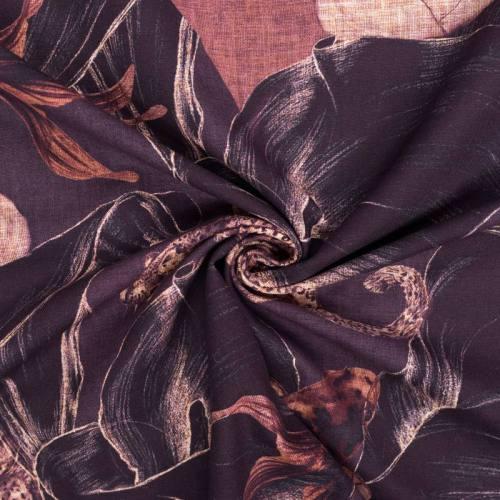 Toile polycoton grande largeur marron motif fleur et femme