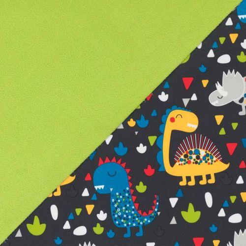 Tissu softshell gris foncé imprimé dinosaures multicolores