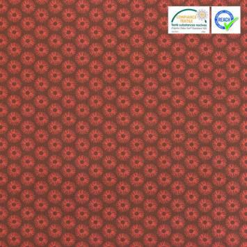 Coton marron imprimé rosace rouge