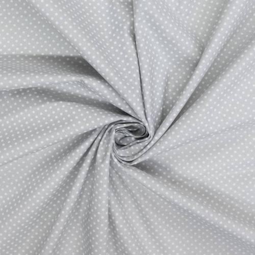 Coton gris clair motif petit pois 2 mm