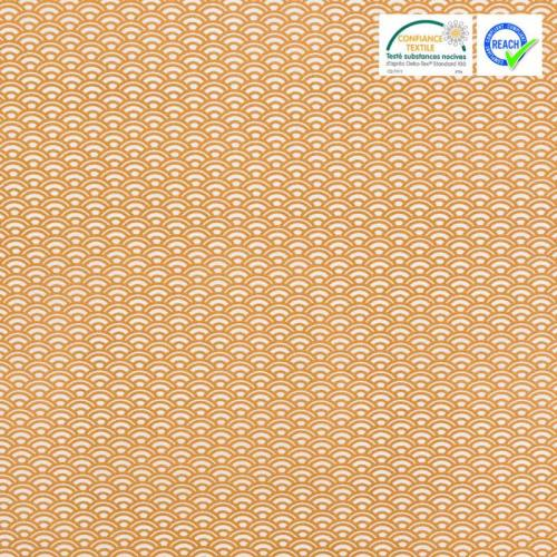 Coton blanc motif écaille caramel