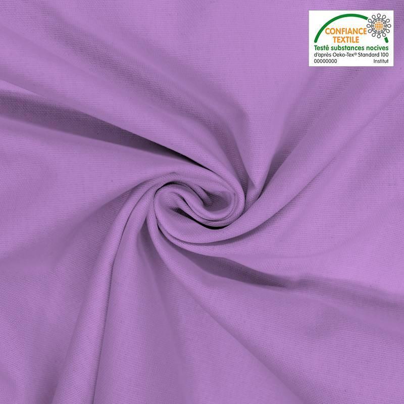 Toile coton violette oeko-tex grande largeur