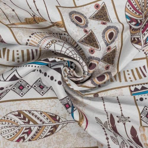 Jacquard écru motif plumes ethniques ocre et marron