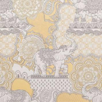 Jacquard écru, or et gris motif fleur et éléphant