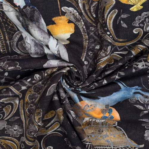 Toile coton noire imprimée dessin japonais grande largeur