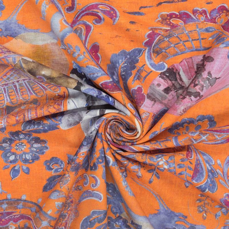 Toile coton orange imprimée dessin japonais grande largeur