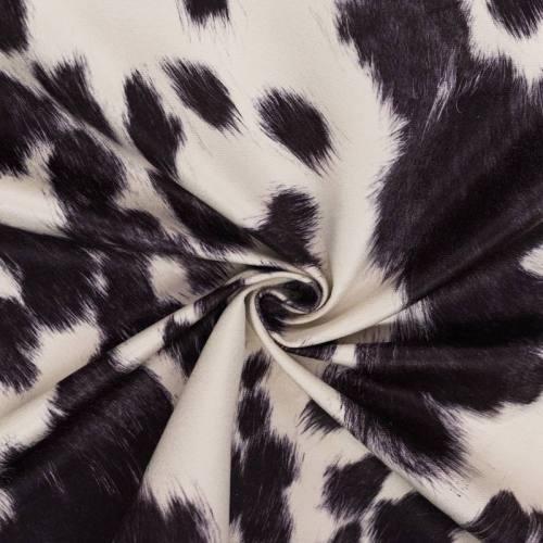 Velours ras imprimé vachette blanche et noire