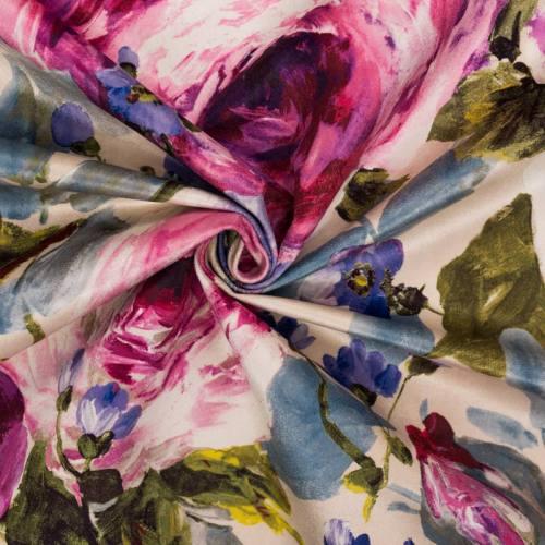 Velours ras beige motif fleurs peintes roses et violettes