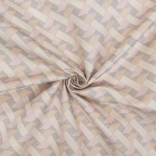 Velours ras beige motif géométrique rose, crème et gris