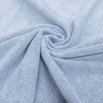 Tissu lainage ras bleu horizon