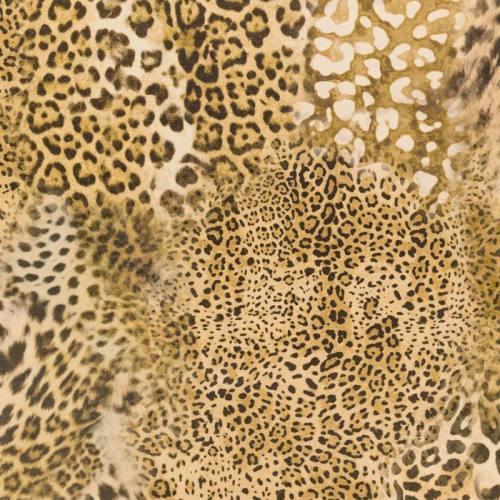 Velours ras imprimé guépard sable