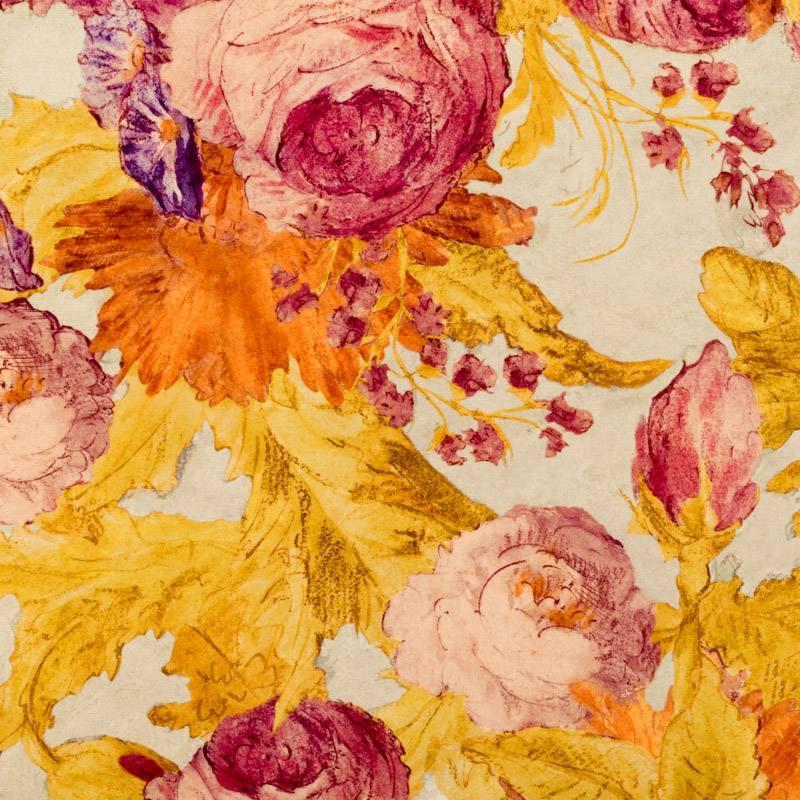 Velours ras beige motif esquisses de fleurs corail et orange