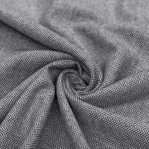 Tissu effet lainage motif chevrons noirs et écrus