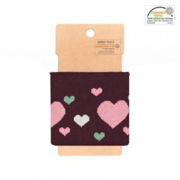 Bord-côte aubergine à cœurs roses et vert de gris