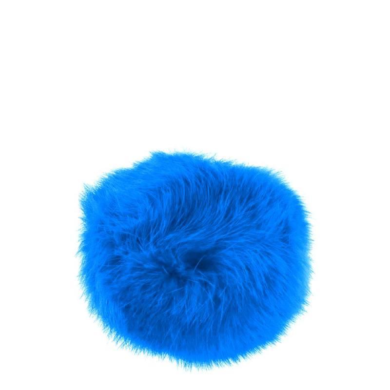 Pompon bleu fausse fourrure