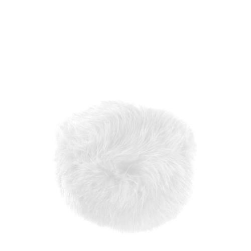 Pompon blanc fausse fourrure