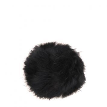 Pompon noir fausse fourrure