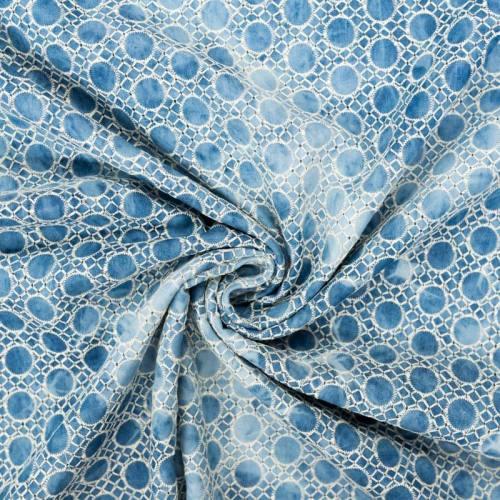 Coton bleu aspect jean broderie cercles et losanges