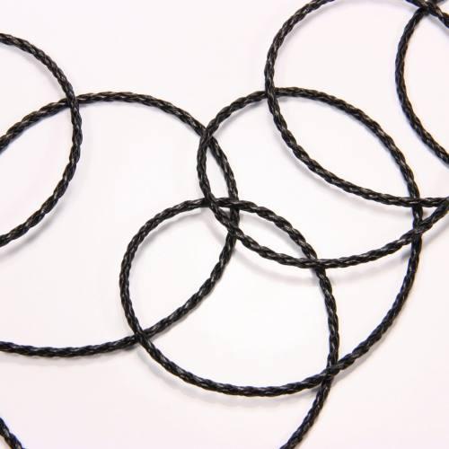 Cordelette tressée simili cuir noir 3 mm
