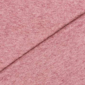 Tissu maille jersey vieux rose chiné