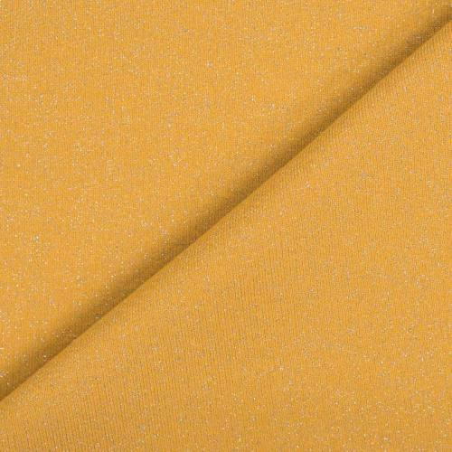 Tissu molleton french terry jaune pailleté