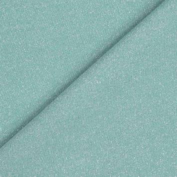Tissu molleton french terry vert d'eau pailleté