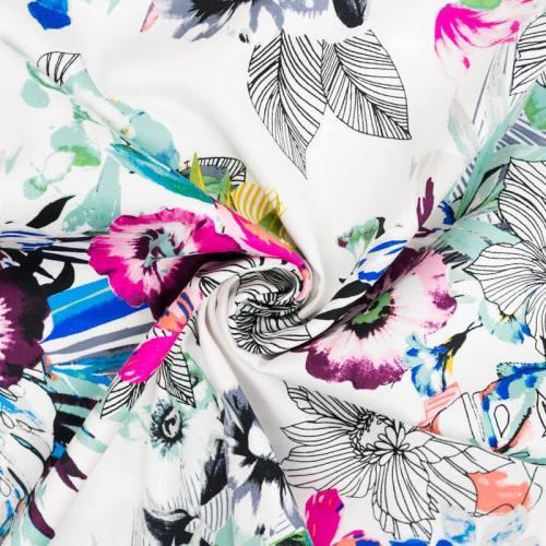 Satin de coton extensible blanc motif fleurs multicolores