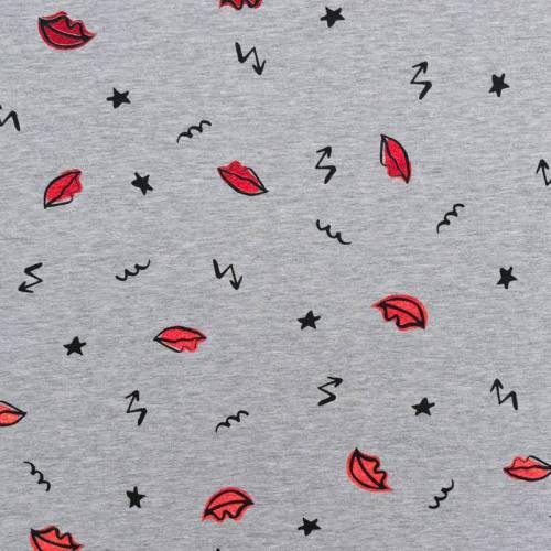 Tissu molleton gris chiné motif bouche rouge brillante