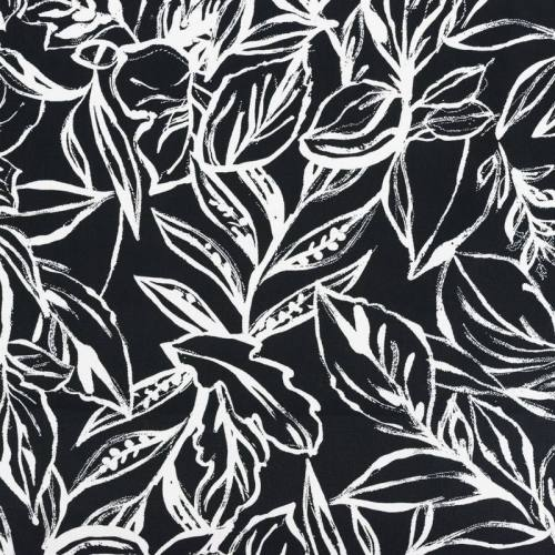 Satin de coton extensible noir motif feuillage peint blanc