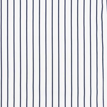 Satin de coton écru à fines rayures bleu marine