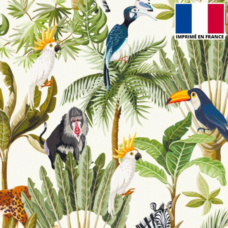 Velours ras écru motif jungle et animaux