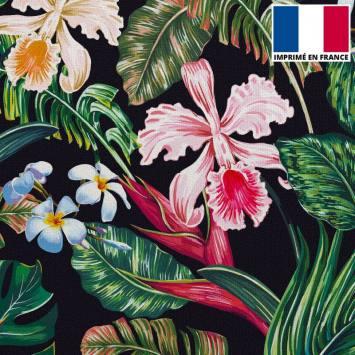 Velours ras noir motif feuilles et fleurs tropicales