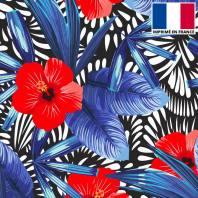 Velours ras motif hibiscus noir bleu et rouge
