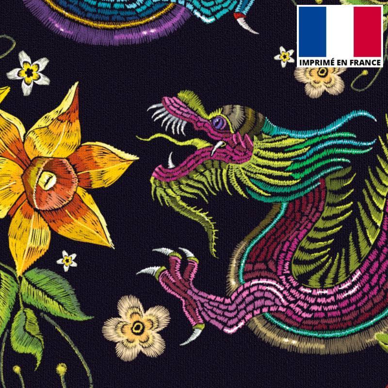 Velours ras imprimé dragon asiatique effet brodé