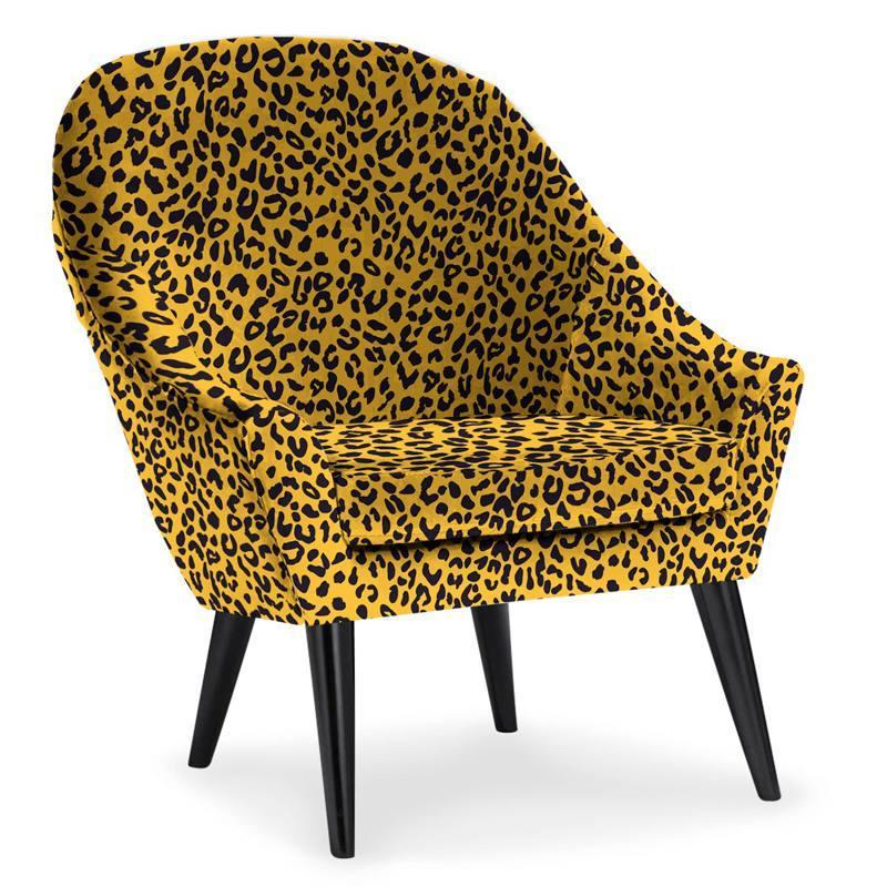 Velours ras moutarde imprimé léopard