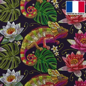 Velours ras noir imprimé caméléon et fleurs brodés