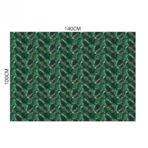 Velours ras noir motif feuilles de palmier vertes