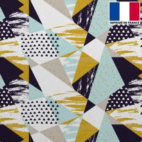 Velours ras blanc imprimé formes géométriques noires, bleu givre et or