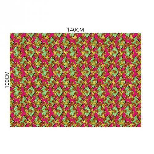Velours ras imprimé wax losange et spirale vert rose et jaune