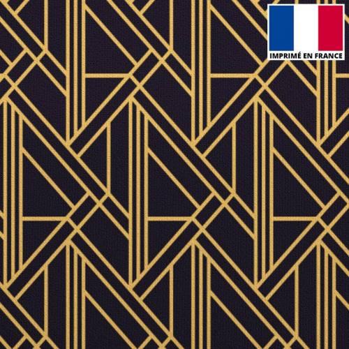 Velours imprimé art déco géométrique noir
