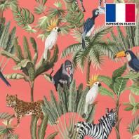 Mousseline crêpe imprimée jungle et animaux corail