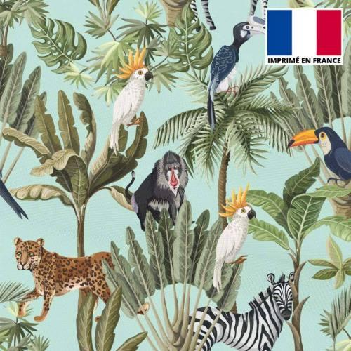 Mousseline crêpe imprimée jungle et animaux vert d'eau
