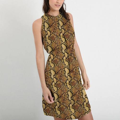 Mousseline crêpe imprimée peau de serpent jaune