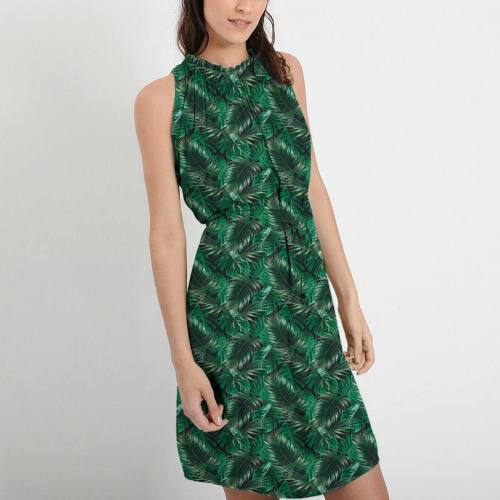 Mousseline crêpe imprimée feuilles de palmier vertes